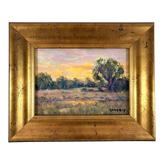 Impressionist California Plein Air Landscape Oil Painting on Board in Gilt Frame Signed Gary Ray For Sale