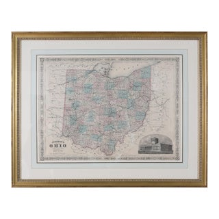 Giltwood Framed and Matted Map / Ohio For Sale