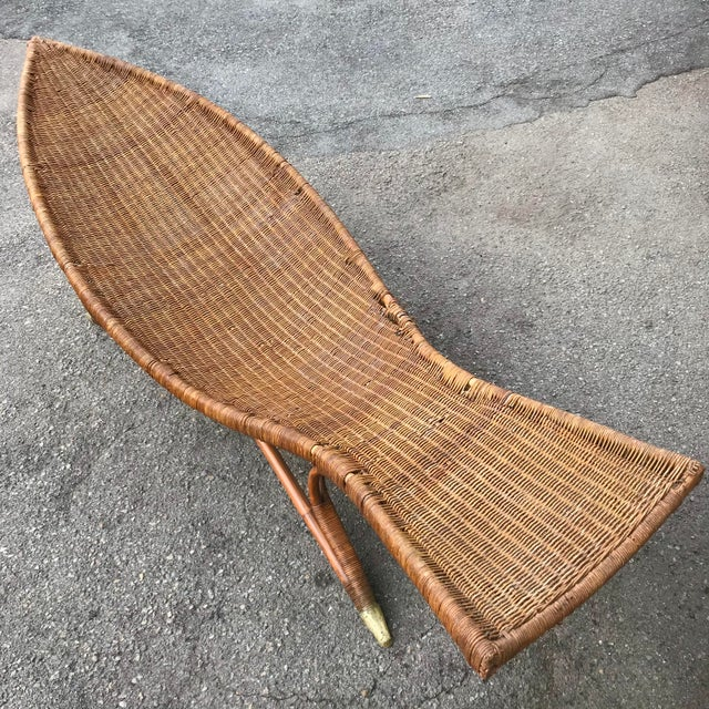 1930s Lina Zervudachi for Elsa Schiaparelli Rattan Bamboo and Brass Wicker Fish Chaise Lounge Chair For Sale - Image 13 of 13