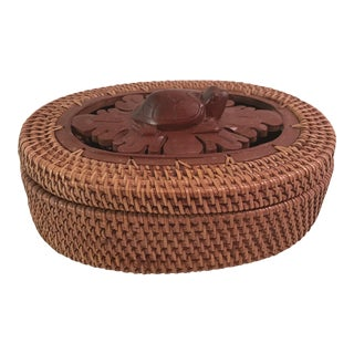 Vintage Woven Wood Accent Turtle Box