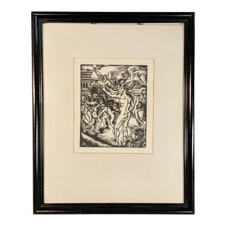 Original Block Print by Artist Andre Favory of Nude Battle Scene With Angel With Black Wood Frame - Dated 1924 For Sale