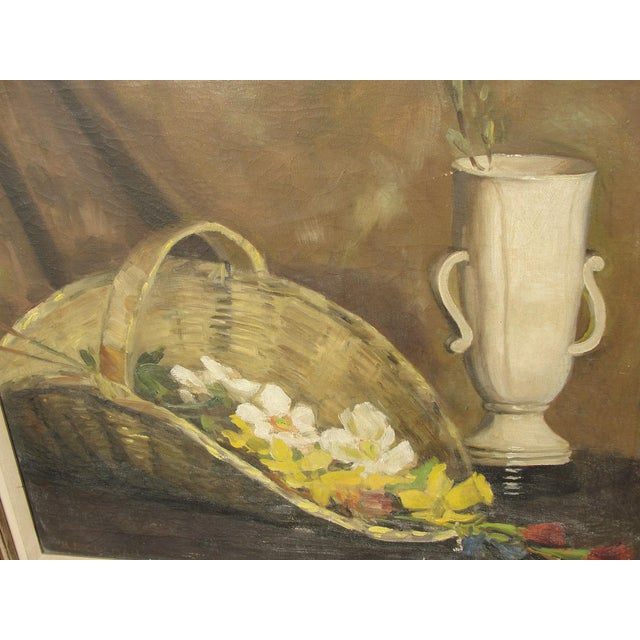 Impressionism Mid-Century Modern Oil on Canvas Still Life For Sale - Image 3 of 10
