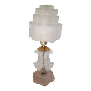 Vintage Art Deco Lalique Style Glass Table Lamp For Sale