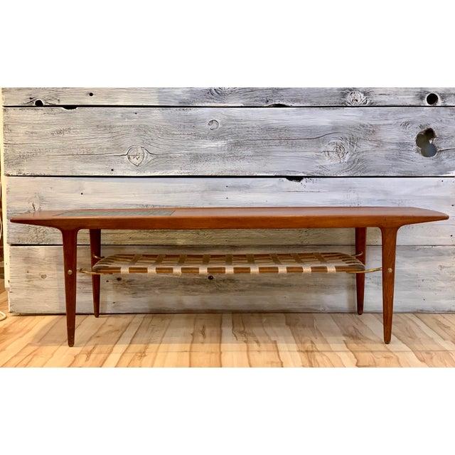 Arne Hovmand-Olsen 1960s Danish Modern Arne Hovmand-Olsen Teak Coffee Table With Tile Inlay For Sale - Image 4 of 13