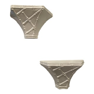 Vintage Chinoiserie Whites Lacquered Plaster Faux Bamboo Wall Shelf Sconces -A Pair