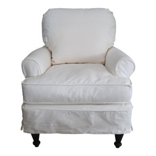 Slipcovered Cream Cotton Duck Down Cushion Club Chair For Sale