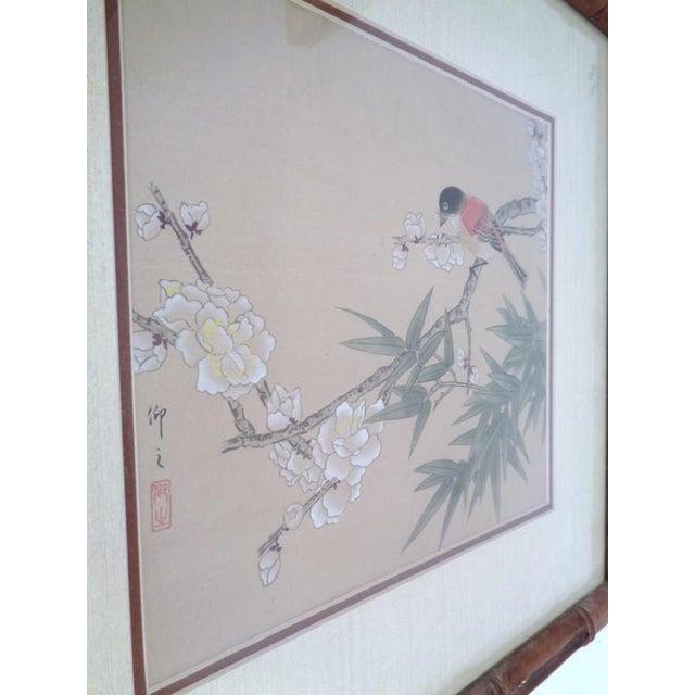 Blue Vintage Regency Japanese Silk Bird & Floral Prints- Set of 3 For Sale - Image 8 of 10