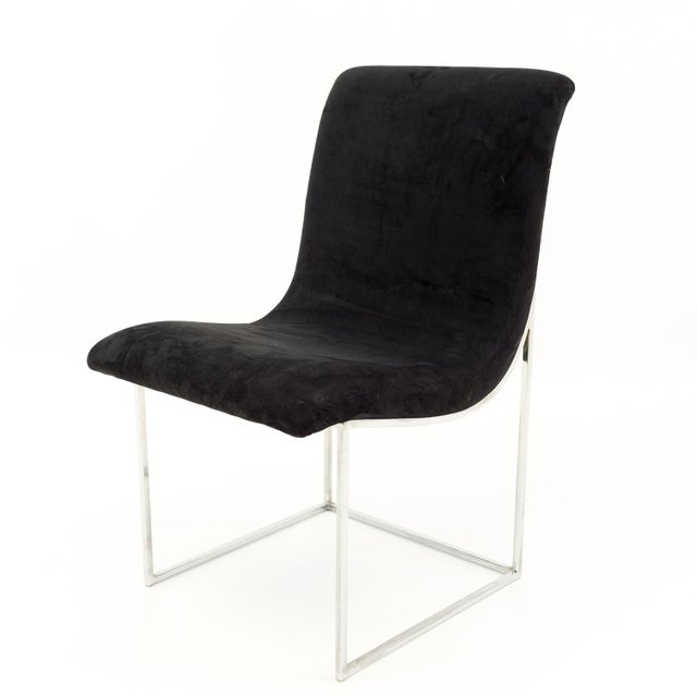 Milo Baughman for Directional Mid Century Black Velvet Chrome Base Lounge Chairs - a Pair For Sale - Image 9 of 11