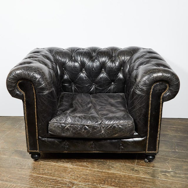 American Chesterfield Oversized Tufted Armchair in Original Black Leather For Sale - Image 3 of 9