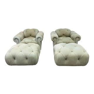 J. Robert Scott Suede Celedon Lounge Swivel Chairs + Ottomans - a Pair For Sale