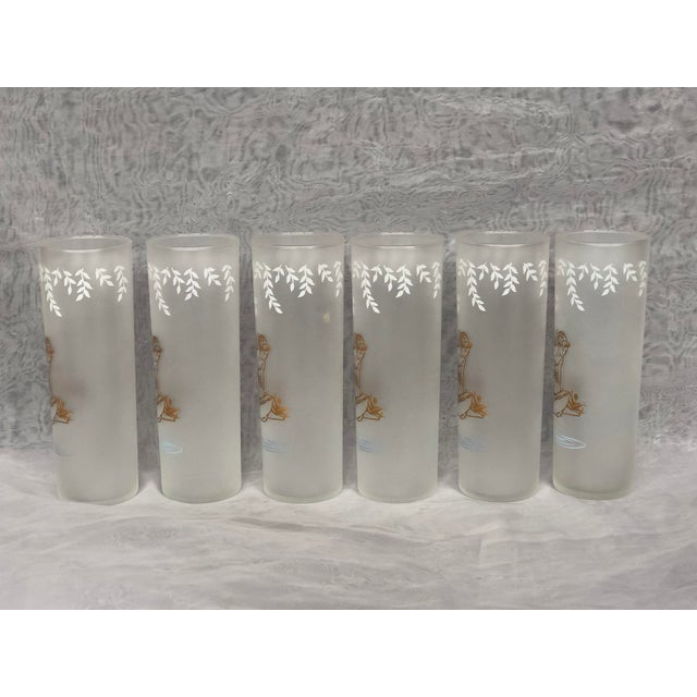 1950s Vintage 1960s Libbey Glassware White Rock Fairy Frosted Tom Collins Glasses - Set of 6 For Sale - Image 5 of 13