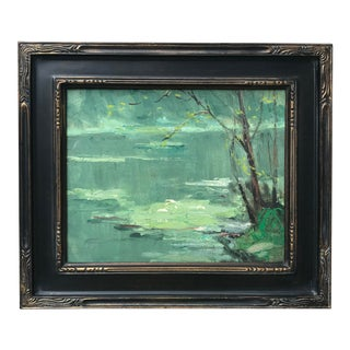 Vintage American Impressionist Oil Painting Pond Lily Pads Harry Barton For Sale