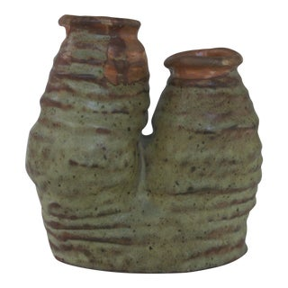 Mid-Century Modern Jd Baron Art Pottery Two Bud Vase For Sale