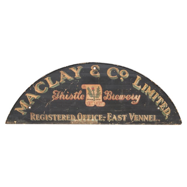 Monumental Hand Painted Antique Thistle Brewery Sign For Sale