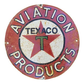 Vintage Enamel Texaco Aviation Oil Sign For Sale