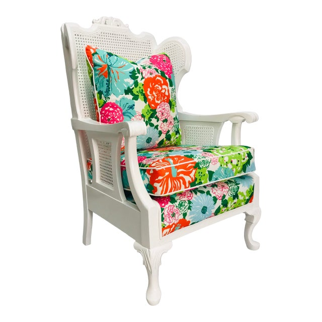 Vintage Caned Wing Chair With Lilly Pulitzer Outdoor Fabric For Sale