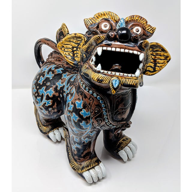 Ceramic Painted Imperial Guardian Lion and Foo Dragon For Sale - Image 13 of 13