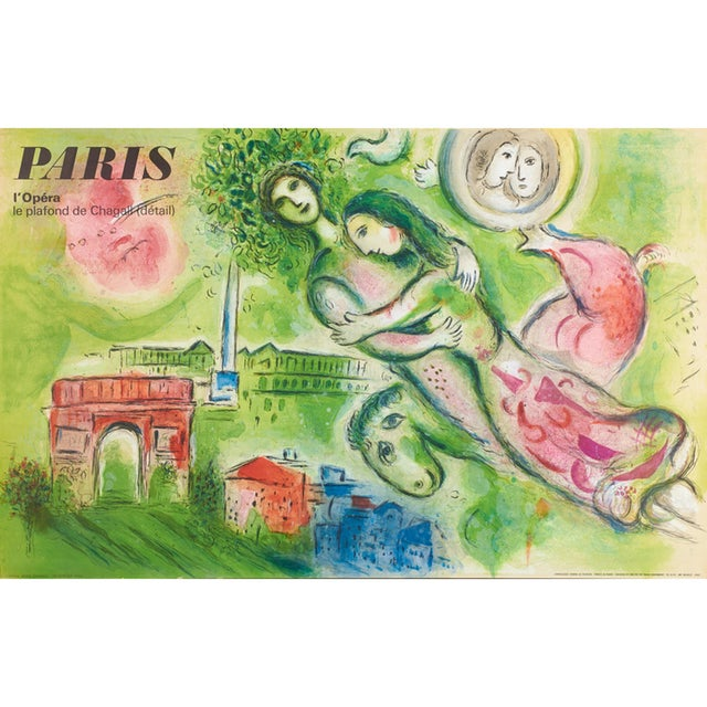 1960s 1964 Vintage Marc Chagall Romeo & Juliet Paris Opera Lithograph Poster For Sale - Image 5 of 5