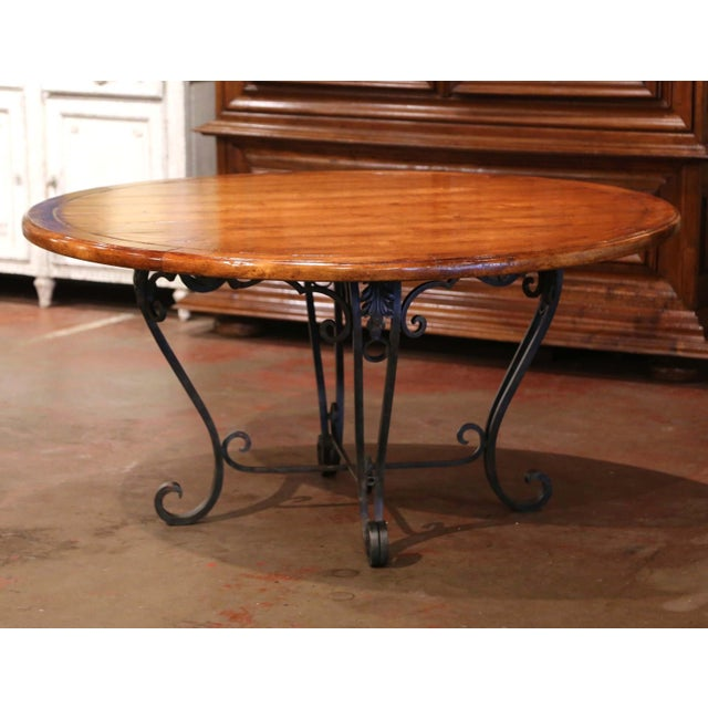 Vintage Walnut Round Dining Room Table on Four-Leg Wrought Iron Base For Sale - Image 9 of 9