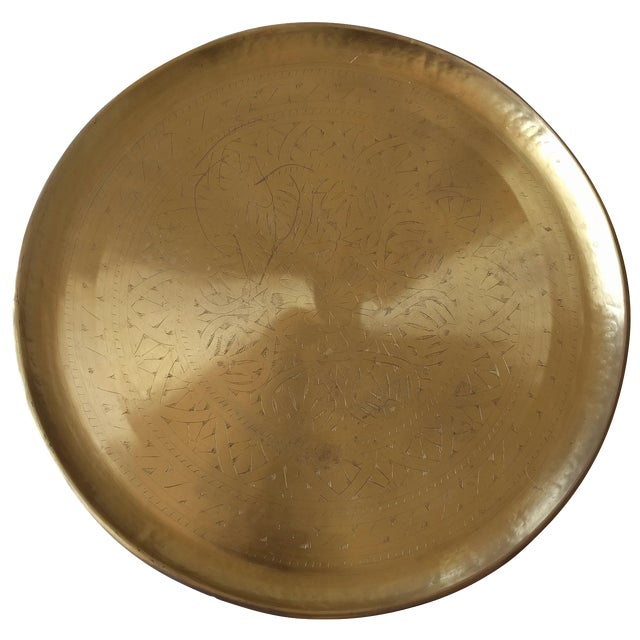 Pottery Barn Etched Brass Tray - Image 1 of 5