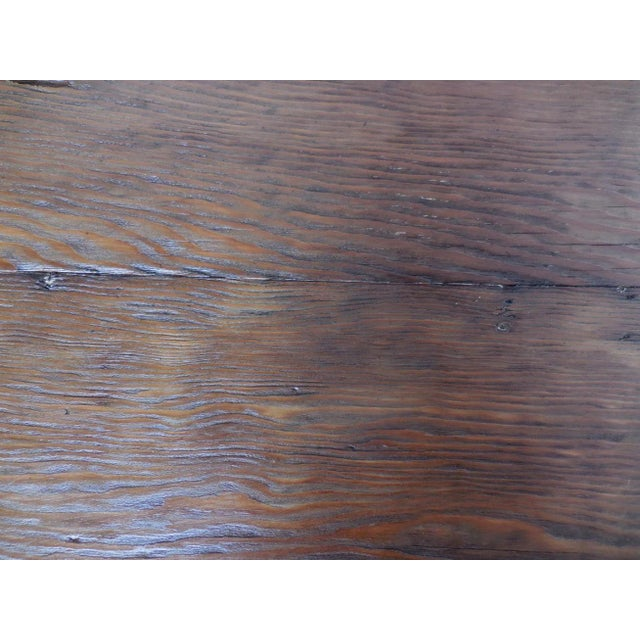 Customizable Reclaimed Wood Modern Clean Line Coffee Table or Bench with Iron Base For Sale - Image 9 of 9