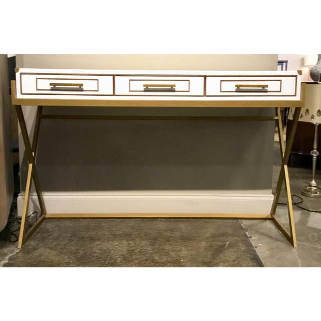 Metal Currey & Co. Modern Regency White and Brass Console Table For Sale - Image 7 of 7
