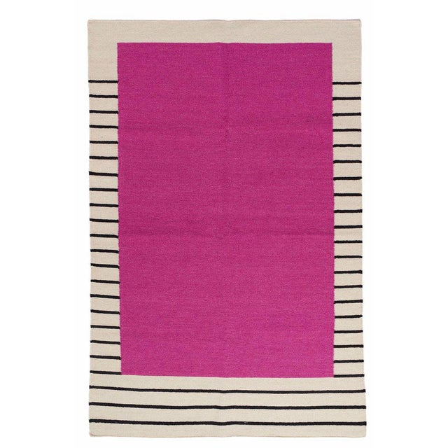 Flatwoven Dhurrie Pink on Black & White Striped Rug - 8′ × 10′ - Image 3 of 6