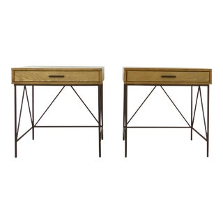 Contemporary Night Stand Side Tables W/ Iron Bases-A Pair For Sale
