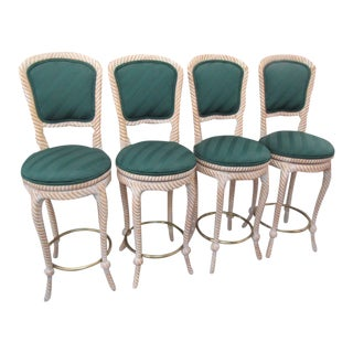 1980s Italian Rope Knot Bar Stools - Set of 4 For Sale