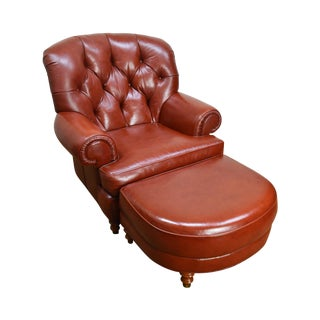 Whittemore Sherrill Russet Brown Tufted Leather Club Chair W/ Ottoman