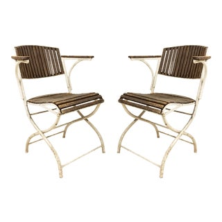 French Art Deco Iron Folding Chairs For Sale