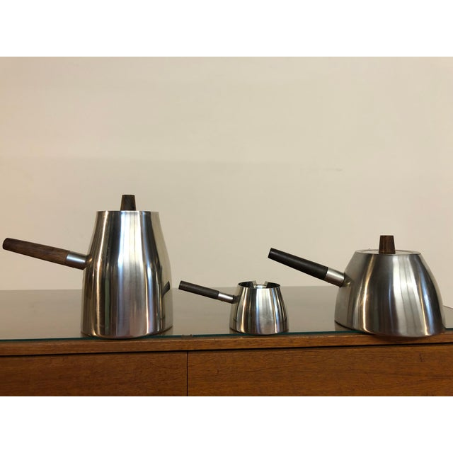Lundtofte Vintage Danish Stainless and Rosewood Coffee and Tea Set Made in Denmark by Lundtofte For Sale - Image 4 of 12