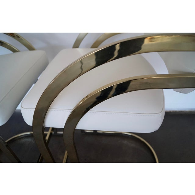 Hollywood Regency Cantilevered Bar Stools in Brass - A Pair - Image 6 of 8