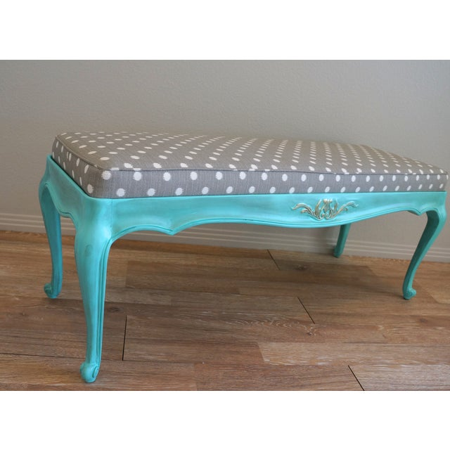 Vintage French-Style Aqua Blue & Grey Dot Bench - Image 4 of 6