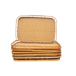 Bamboo & Wicker Serving Trays - Set of 7