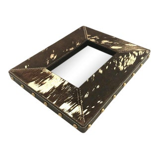 Rustic Modern Cowhide and Gold Metallic Picture Frame For Sale
