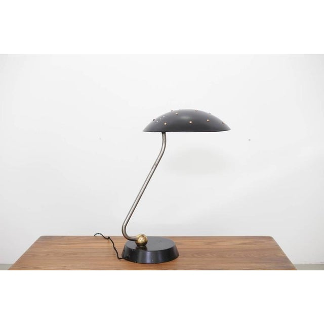 1950s Huge Black Table Lamp with Chrome, Copper and Brass Details For Sale - Image 5 of 6