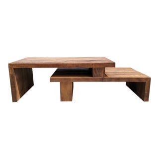 Rustic Stacking Coffee Table, 2 Pieces For Sale