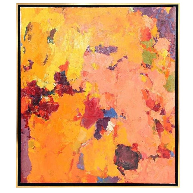 1957 Abstract Multi-Color Framed Oil on Canvas Painting by Carol Haerer For Sale