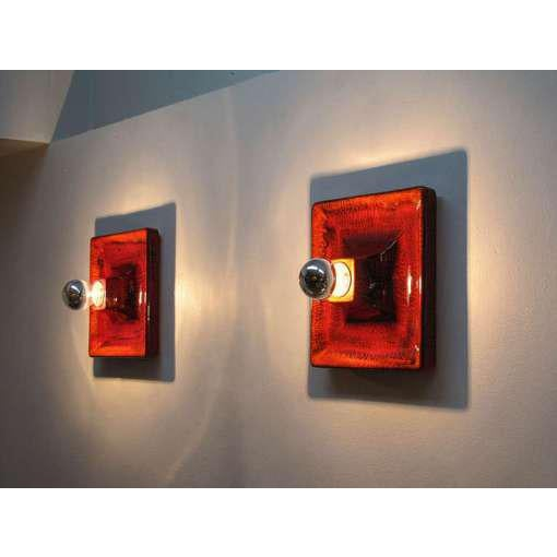 Red Red Ceramic Wall Sconces - A Pair For Sale - Image 8 of 9