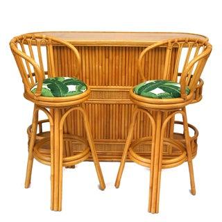 Bamboo Tiki Bar Set - Bar & Pair of Barstools For Sale