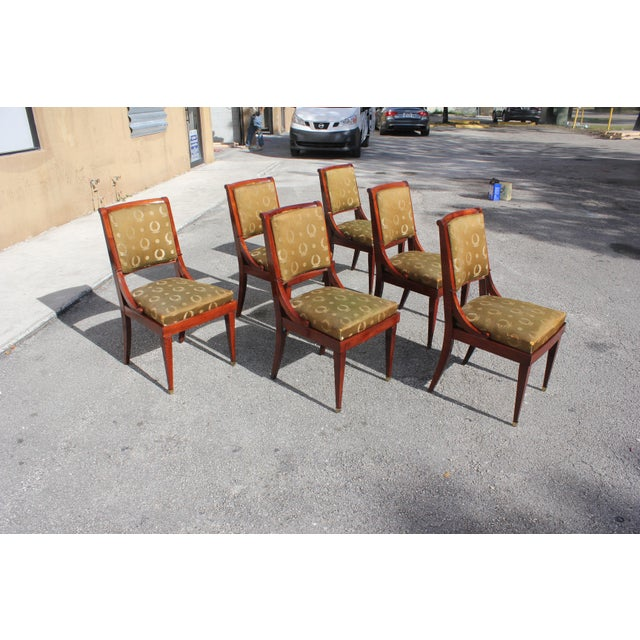 Classic set of six French empire dining chairs solid mahogany circa 1910s. The chair frames are in excellent condition...