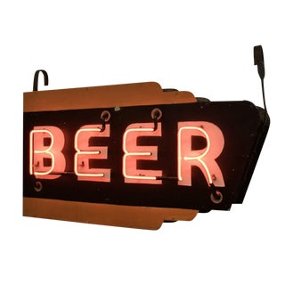 Double-sided Orange and Black Neon Beer Sign Circa 1940s