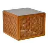 Image of Mid-Century Woven Cane Cube Form Side Table For Sale