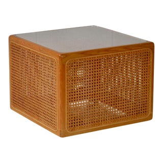 Mid-Century Woven Cane Cube Form Side Table For Sale