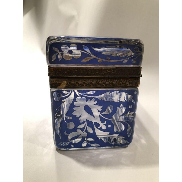 Metal Antique Bohemian Glass Sugar Casket/ Jewelry/Vanity/Trinket Box For Sale - Image 7 of 13