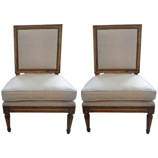 19th Century French Louis XVI Style Linen Upholstered Children's Chairs - a Pair
