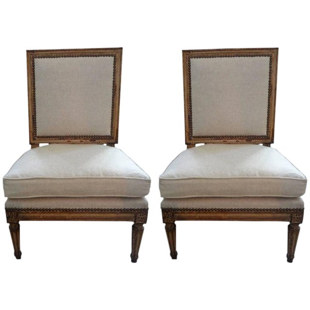 19th Century French Louis XVI Style Linen Upholstered Children's Chairs - a Pair For Sale