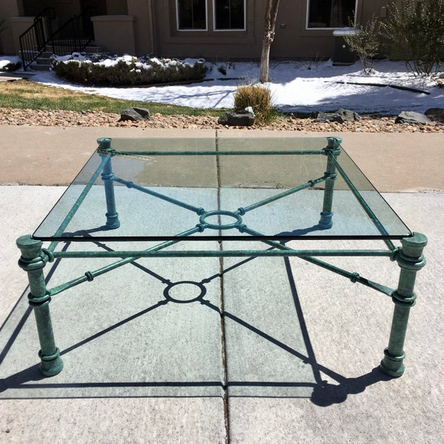 Mid-Century Modern Patinated Bronze Base Heavy Glass Top Coffee Table After Giacometti For Sale In Denver - Image 6 of 13