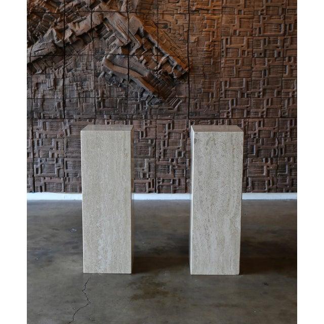Modern Travertine Pedestals Circa 1980 - a Pair For Sale - Image 3 of 6